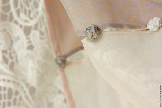 BENANDLU handmade - Tippet or scarf. Giorgio Armani silk, cotton, roses, stripes