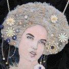 "BENANDLU  - Brooch or pendant silk embroidery. ""Lady in Rain""."