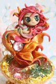FREE SHIPPING OOAK miniature Mermaid Siren pendant with stand shell figure