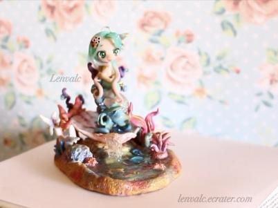 OOAK Mermaid Miniature cute sea garden stand display figure siren