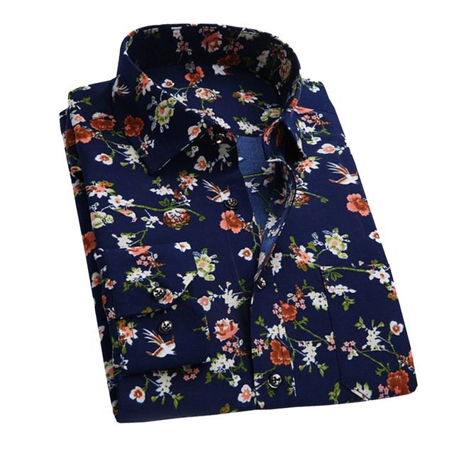 2017 Retro Floral Printed Man Casual Shirts Fashion Classic Men Dress Shirt