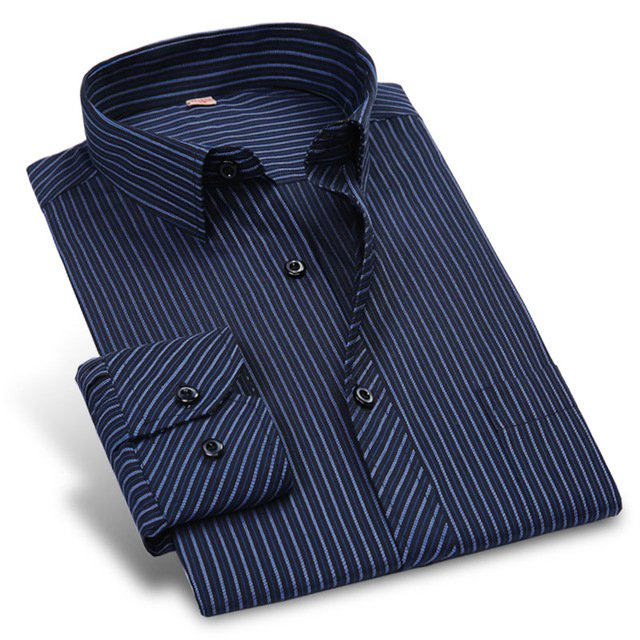 Autumn New 2017 Striped Men Dress Shirt Formal Fashion Long Sleeve Brand