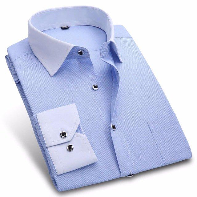 New 2017 Autumn Men Dress Shirt Fashion White Collar Twill Business Male