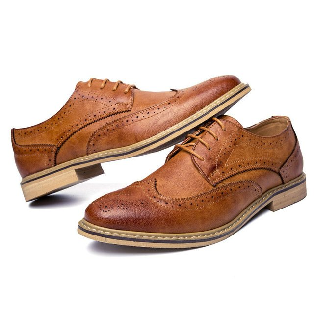 Merkmak New 2017 Luxury Leather Brogue Mens Flats Shoes Casual British Styl