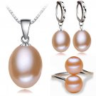 Real freshwater pearl jewelry set women,natural pearl sets 925 sterling sil
