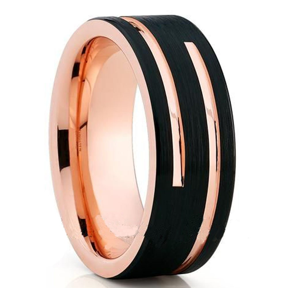 Buy Soul Men 8mm Black with Rose Gold Color Ring for Male