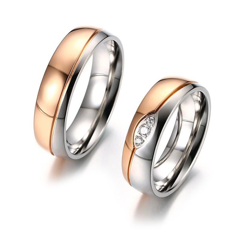 Vnox Wedding Rings Band for Women Men Rose Gold-color CZ Stones