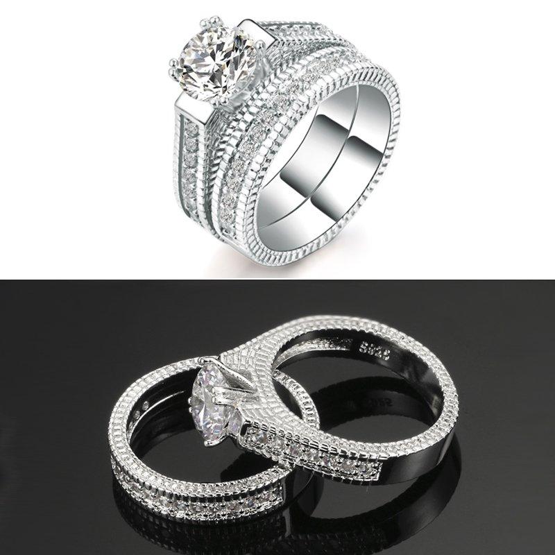 Fashion Wedding Ring Set Cubic Zirconia Jewelry
