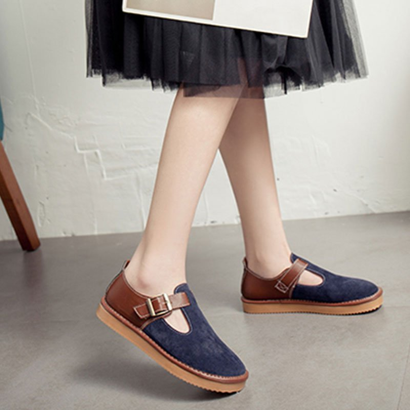 Lucyever Vintage Women Round Toe Shoes