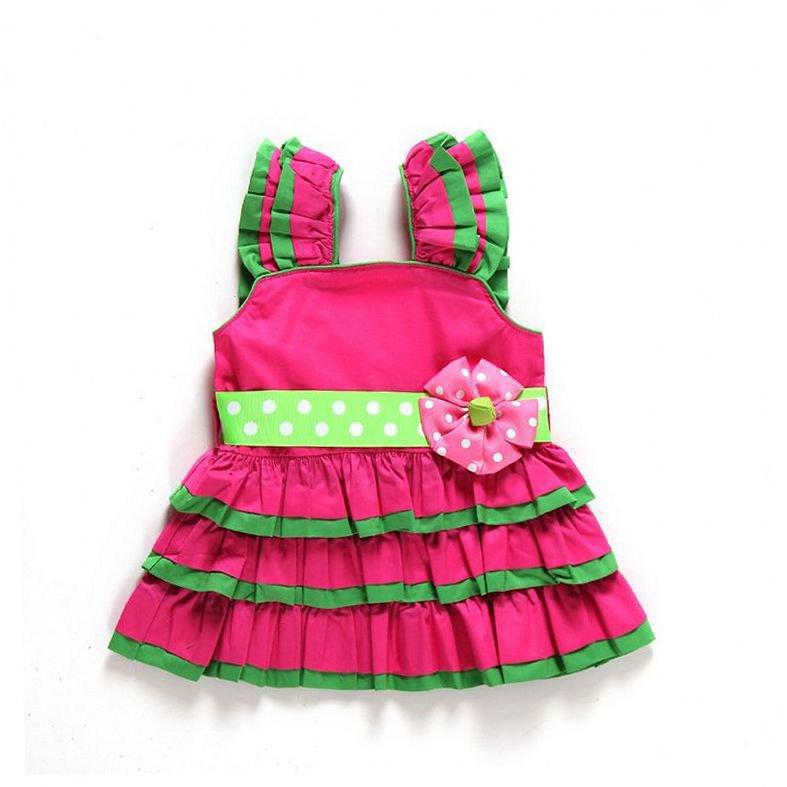 Brand baby girls dress hot selling infant sleeveless ruffles party