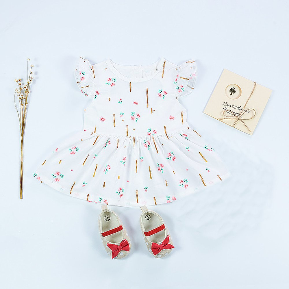 HE Hello Enjoy baby dress christening Sleeveless white print Backless love princess