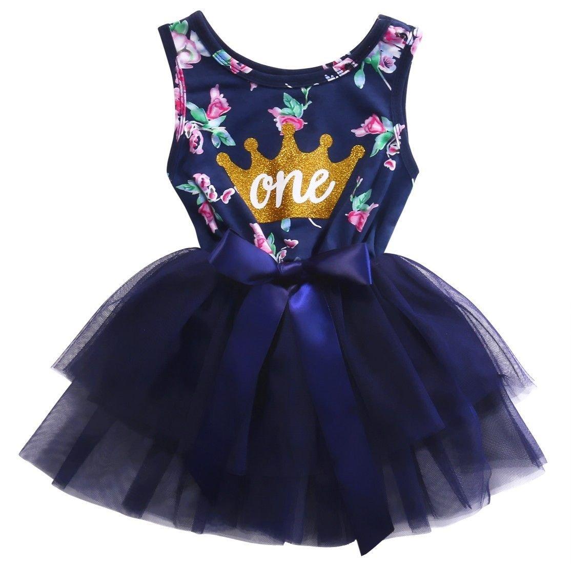 0-2T Kid Girls Princess Baby Dress Newborn Infant Baby Girl