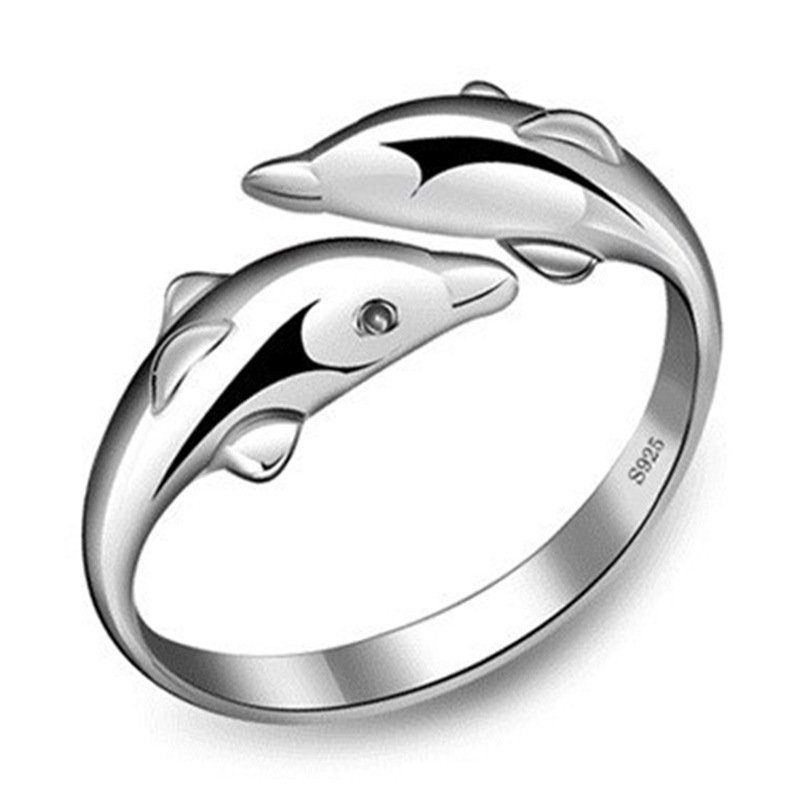 Silver plated double dolphin female models love lovely wild fashion jewelry ring