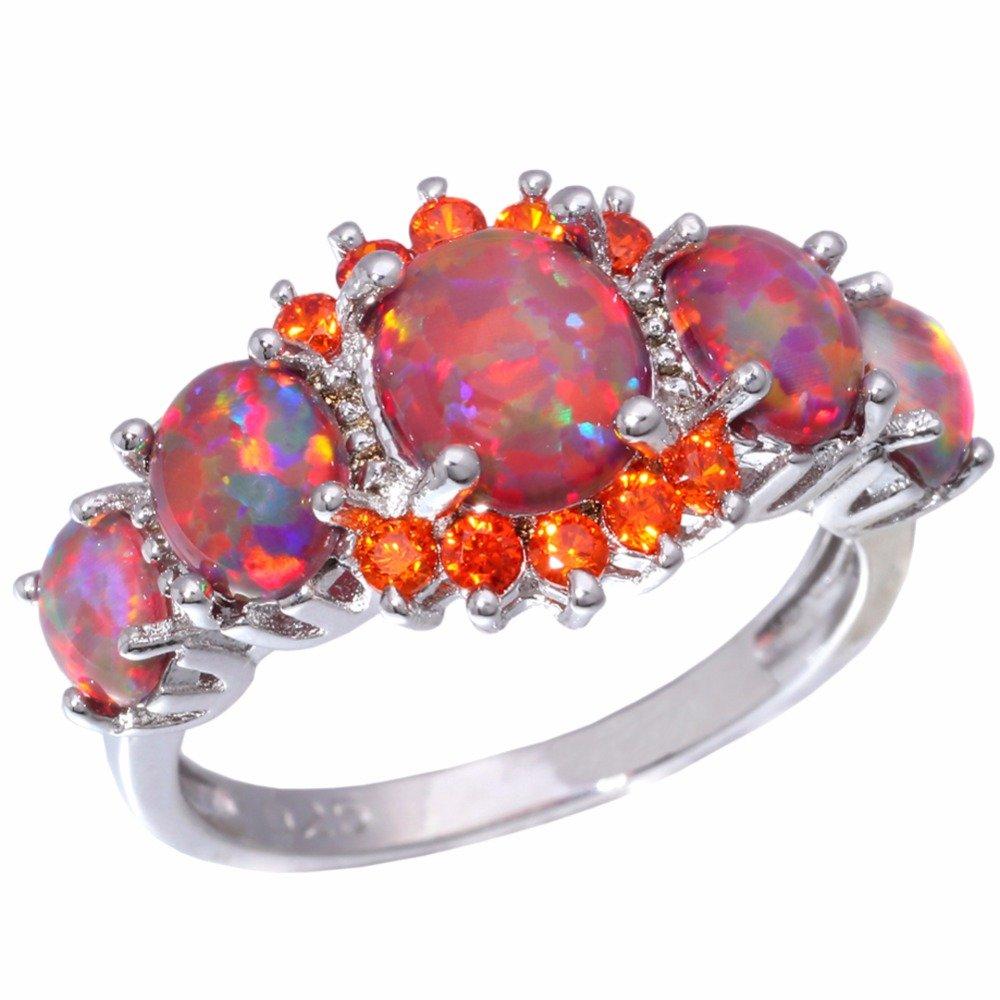 Orange Fire Opal Orange Garnet Silver Plated Ring