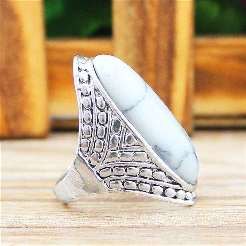 Crack Dot Oval Blue White Stone Rings For Women