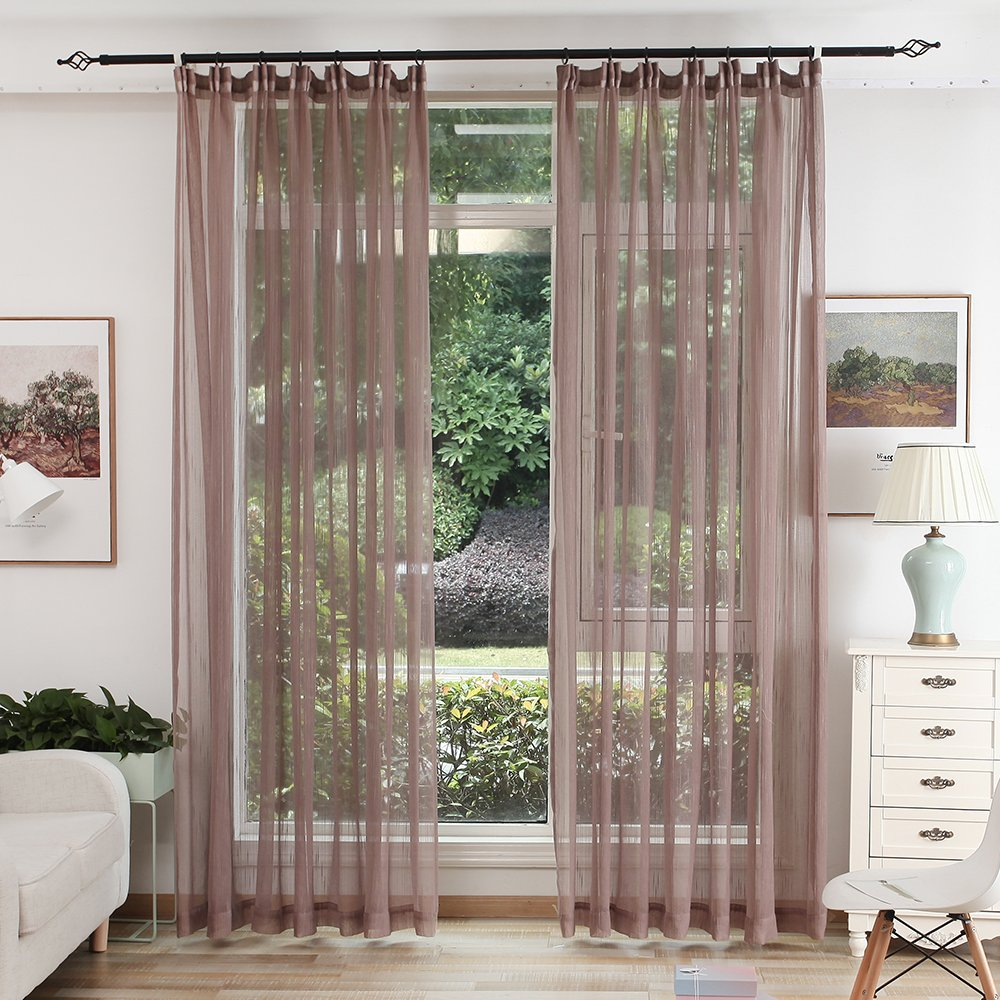 white color tulle sheer curtain for bedroom or living room window