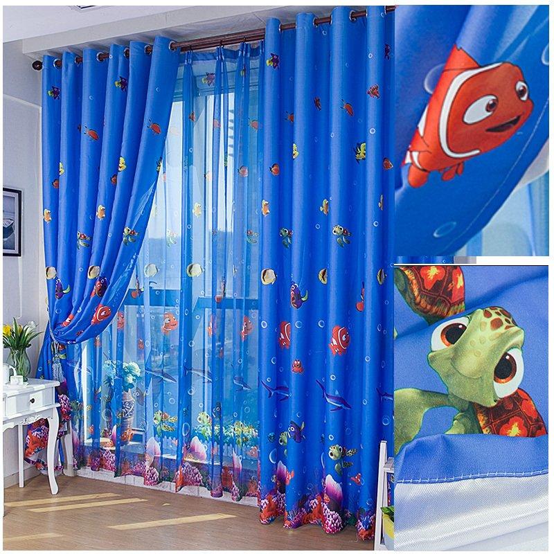 Eco-friendly Blue Ocean Sea Fish Child Bedroom Window Curtain Tulle Sheer