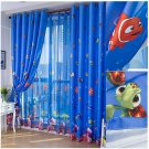 Eco-friendly Blue Ocean Sea Fish Child Bedroom Window Curtain Tulle Sheer