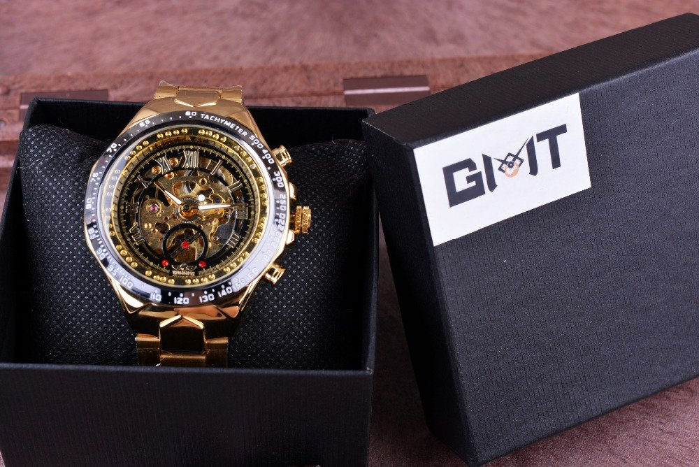 Winner New Number Sport Design Bezel Golden Watch Mens Watches