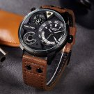 Super Big Multilayer Stereoscopic Dial Two Time Zone Display Fashion Sport Watch Men