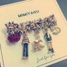 Nine Flower Brand Hot Sale Charming Full Rhinestone N 5 Women Brooch Fashio