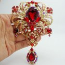 "5.04""""Classic style Flower drop Brooch Pin Pendant Red Rhinestone Crystal-in"