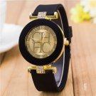 2015 New Fashion Brand Gold Geneva Casual Quartz Watch Women Crystal Silicon