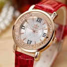 FOURRON Fashion Quartz Women Watch Rhinestone Leather Casual Dress Watches