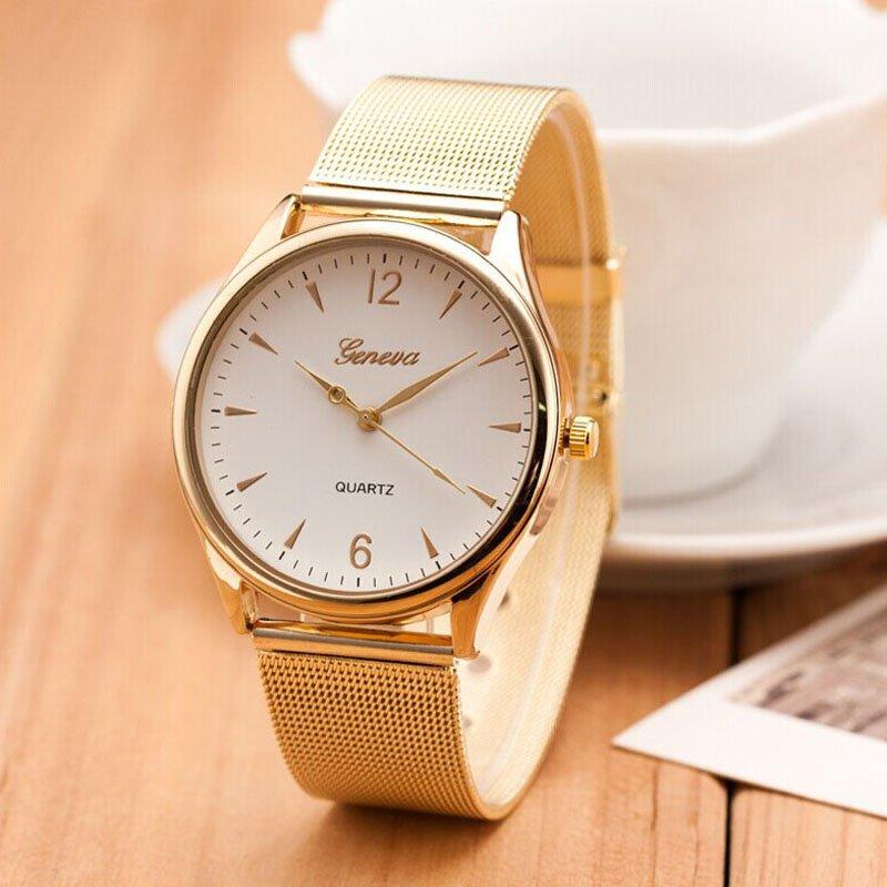 2016 Famous Brand Casual Geneva Quartz Watch Women Gold Silver Mesh Stainle