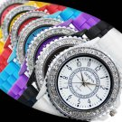 High Quality Geneva Brand Silicone watch women ladies men Crystal Dress Qua