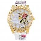 Women Watches Flower Rhinestone Luxury Lady Wristwatches Leather Fashion Ca