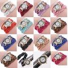 Fashion Casual Quartz Women Rhinestone Watch Braided Leather Bracelet Watch