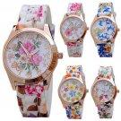 Fashion Women Silicon Band Flower Print Jelly Sports Quartz Wrist Watch  Ne