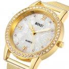 BINZI Gold Women Watch Fashion Lady Dress Quartz Watch Women Rhinestone Cas