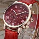 IBSO Red Women Watches 2017 Vintage Genuine Leather Strap Calendar Multifun