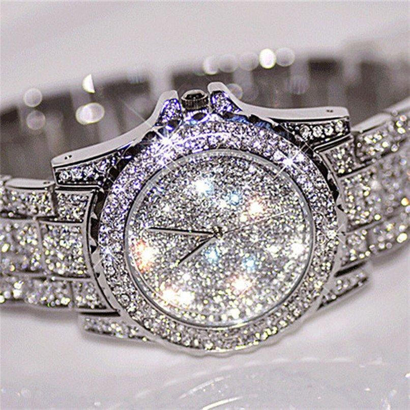 Relogio Feminino Silver Clock Women Watches Birthdays Gift Rhinestone Ceram