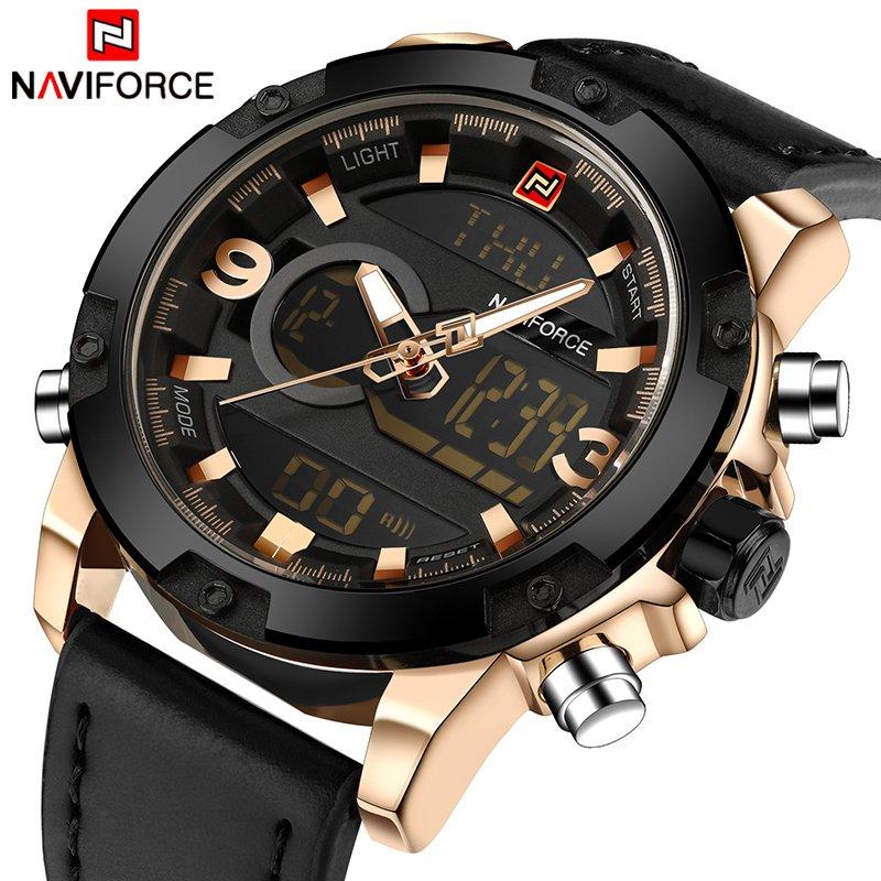 NAVIFORCE Luxury Brand Men Analog Digital Leather Sports Watches Men's Army