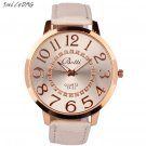 SmileOMG New Hot Marketing Womens Fashion Numerals Golden Dial Leather Anal