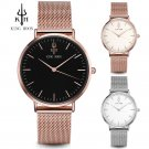 KING HOON Women Watches Top Luxury Brand Rose Gold Silver Leather Steel Qua