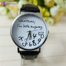 Hot Whatever I am Late Anyway Letter Pattern Leather Men Women Watches 2017