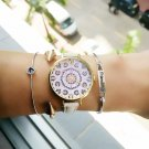 Relogio feminino luxury women watches Floral Pattern PU Leather Band Analog