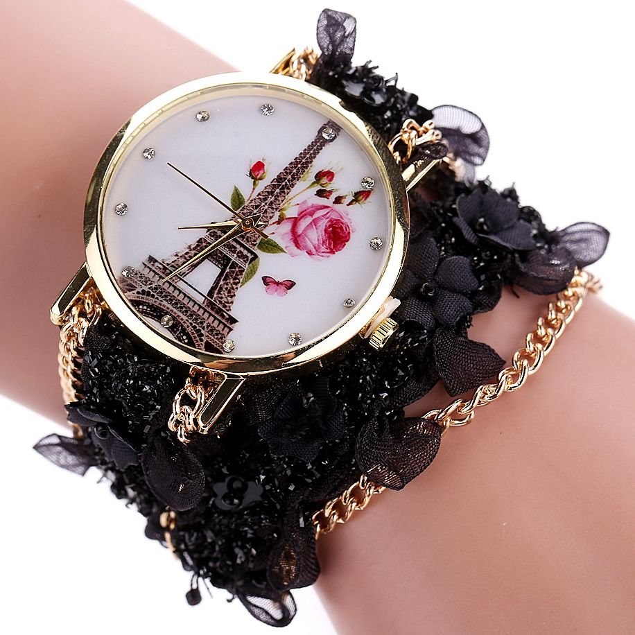 Women Dress Fashion Watch Duoya Flower Eiffel Tower Bracelet Quartz Wristwa