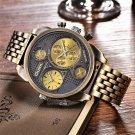 Oulm Luxury Brand Men Full Steel Quartz Watch Golden Big Size Men's Watches