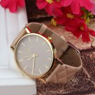Unisex Casual Checkers relogio feminino Faux Leather wristwatch relojes hom