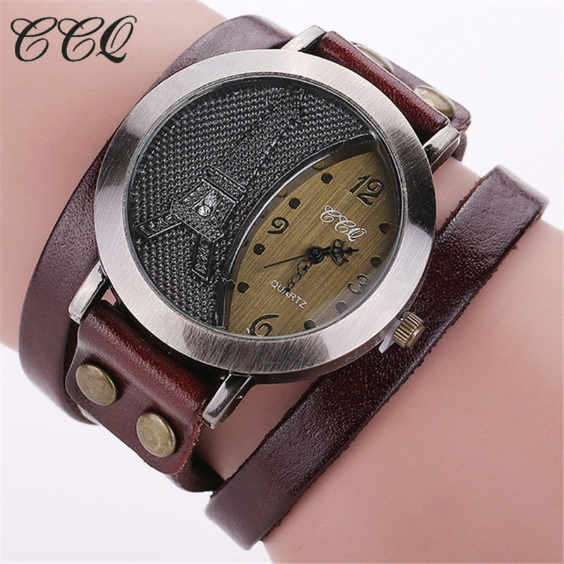 CCQ Brand Vintage Tower Watch Genuine Leather Bracelet Watches Casual Women