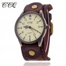 CCQ Brand Women Vintage Cow Leather Bracelet Watch Men Casual Sport WristWa