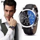 Malloom Men's Business Watch Women Luxury Faux Leather Blue Ray Glass Wrist