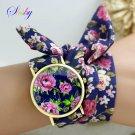 shsby new design Ladies flower cloth wrist watch gold fashion women dress w