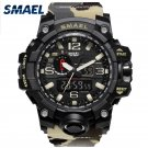SMAEL Brand Men Watch Dual Time Camouflage Military Watch Digital Watch LED