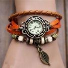 Men's wristwatches 1PC mens Bracelet Vintage Weave Wrap Quartz Leather Leaf